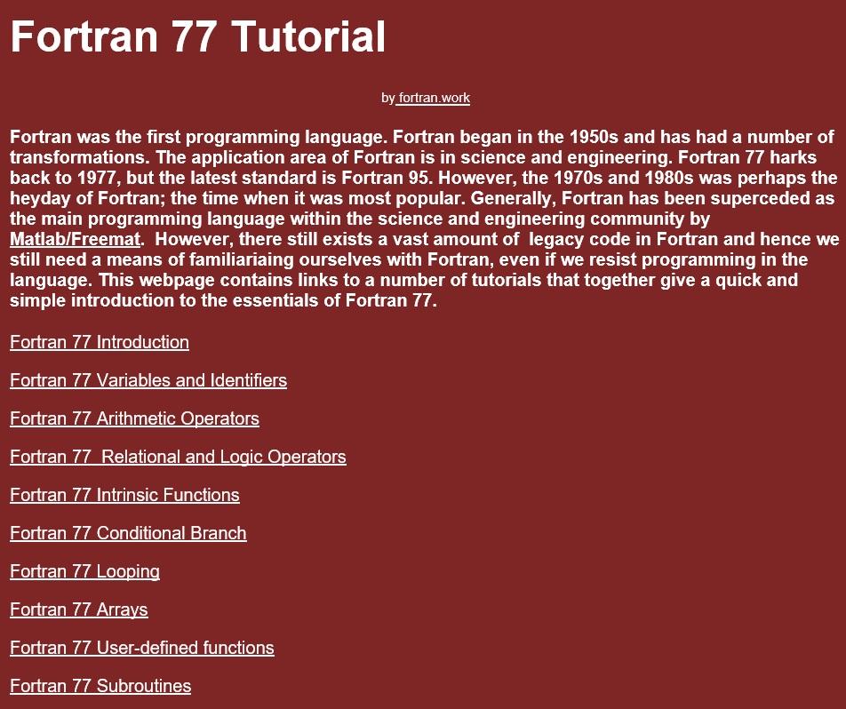 Fortran 77 Tutorial : fortran work website